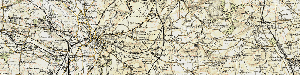 Old map of Whitwell Grange in 1901-1904