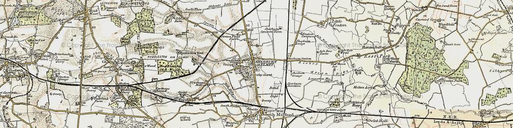 Old map of Sherburn in Elmet in 1903