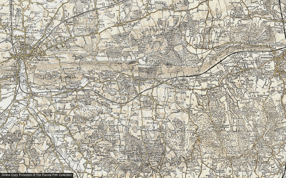 Old Map of Shere, 1898-1909 in 1898-1909