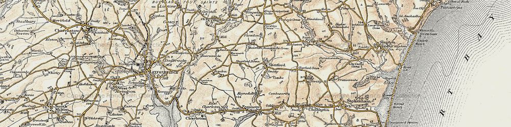 Old map of Sherford in 1899