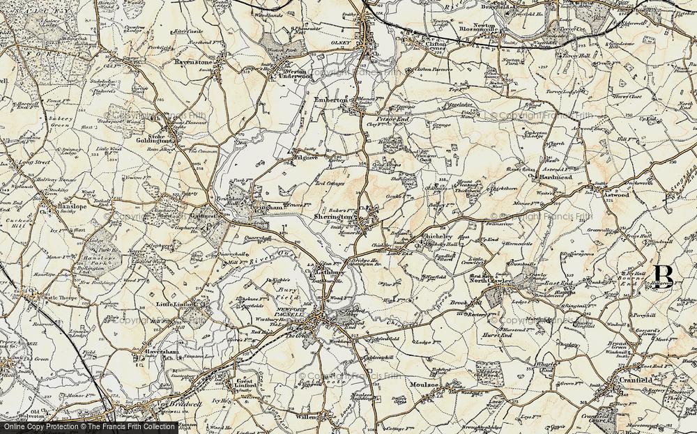 Old Map of Sherington, 1898-1901 in 1898-1901