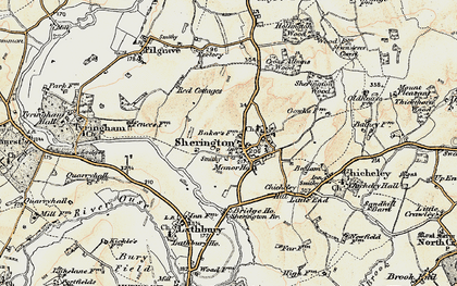 Old map of Sherington in 1898-1901