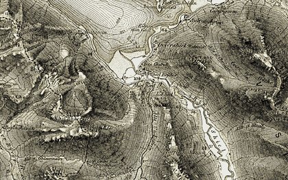 Old map of Allt a' Coire Uaine in 1908-1909