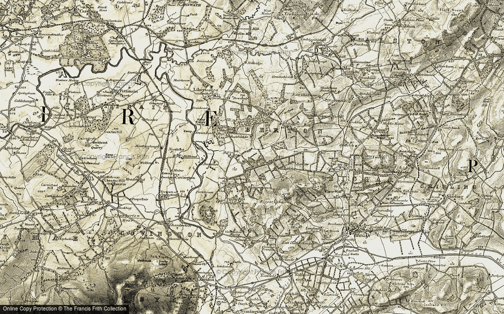 Old Map of Historic Map covering Arthurshiels in 1904-1905