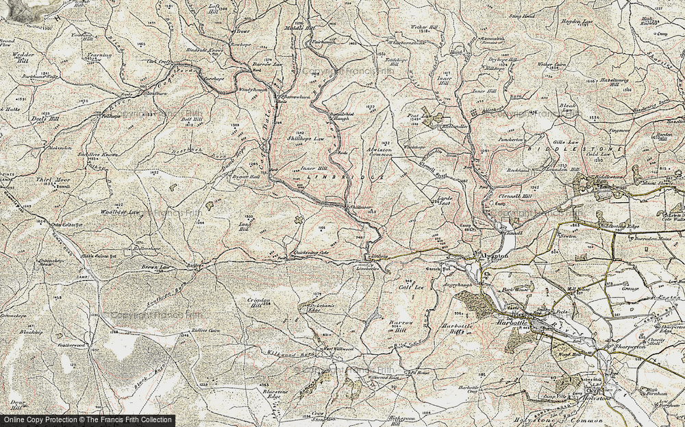 Old Map of Historic Map covering Wholehope Knowe in 1901-1904
