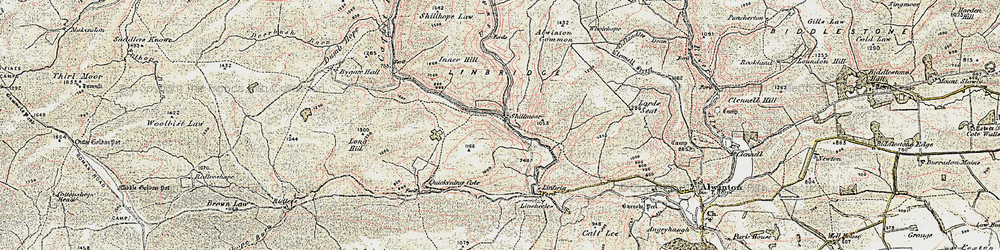 Old map of Wholehope Knowe in 1901-1904
