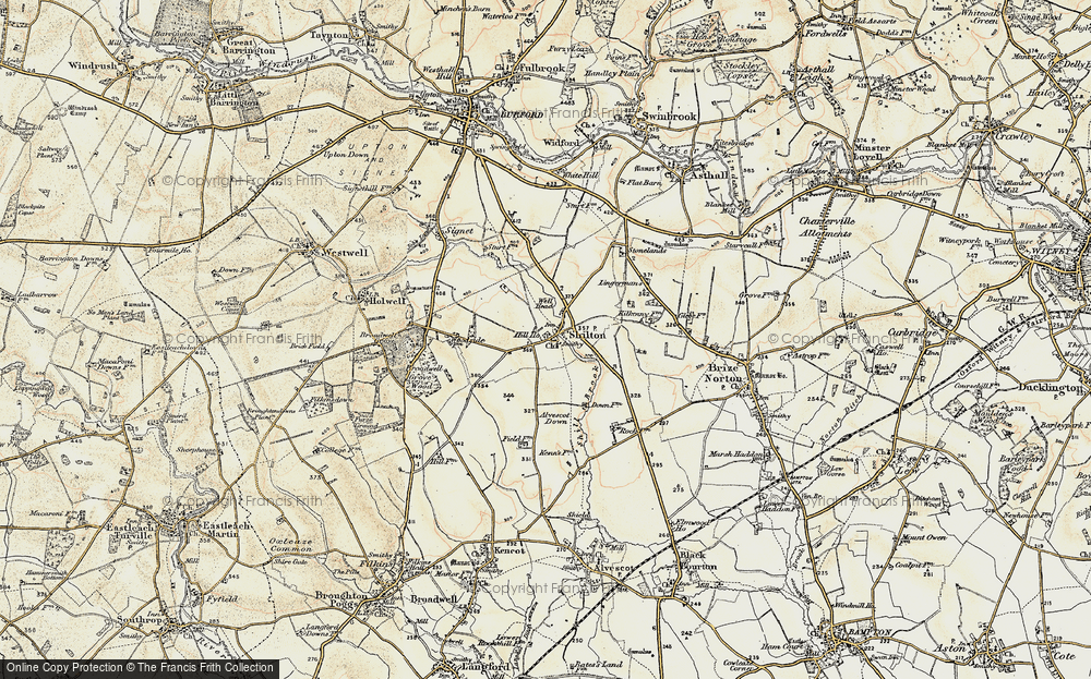 Old Map of Historic Map covering Alvescot Down in 1898-1899