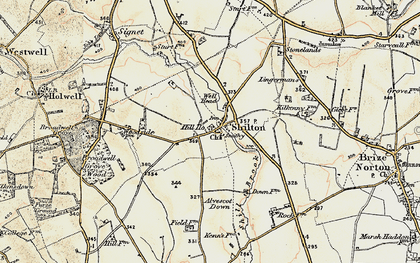 Old map of Alvescot Down in 1898-1899
