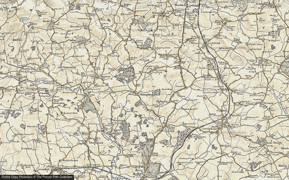 Old Map of Historic Map covering Aveley Wood in 1899-1901