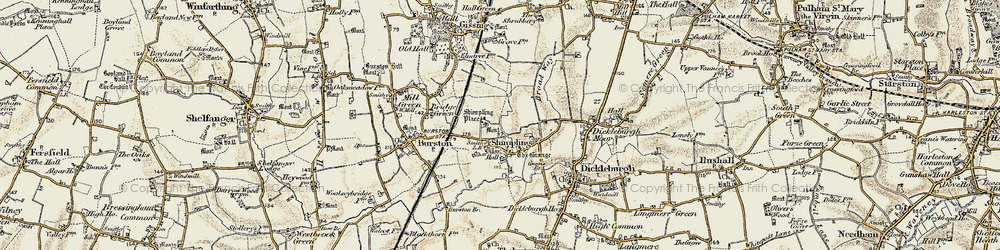 Old map of Shimpling in 1901-1902