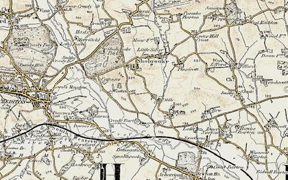 Old map of Westacott Cotts in 1899-1900