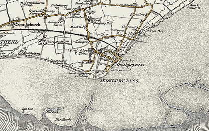 Old map of Shoeburyness in 1897-1898