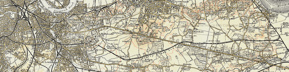 Old map of Shooters Hill in 1897-1902