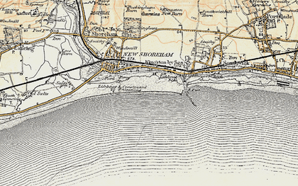 Old map of Shoreham-By-Sea in 1898
