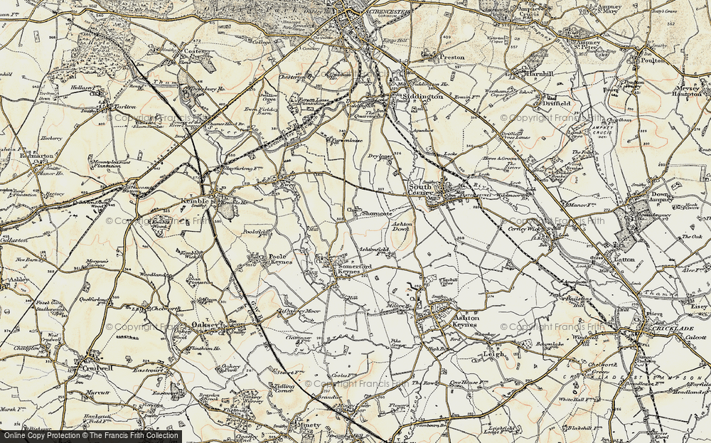 Old Map of Historic Map covering Ashton Down in 1898-1899