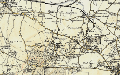 Old map of Shorne in 1897-1898