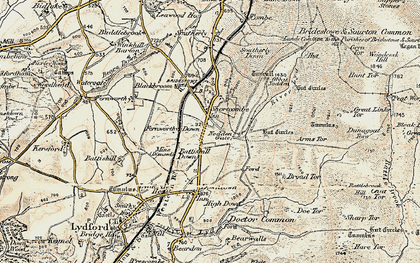 Old map of Widgery Cross in 1899-1900