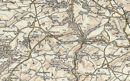 Old map of Shortacross in 1900