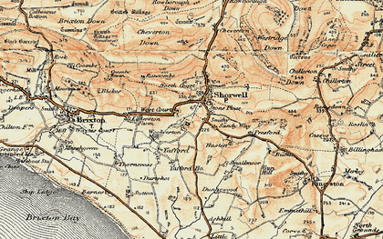 Old map of Shorwell in 1899-1909