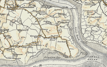 Old map of Shotley in 1898-1901