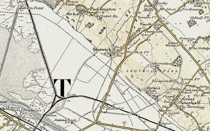 Old map of Shotwick in 1902-1903