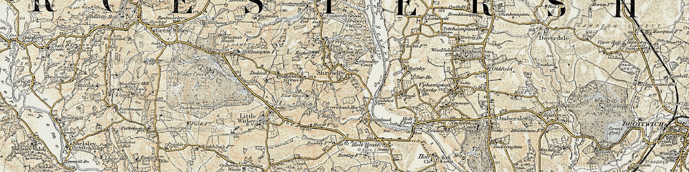 Old map of Shrawley in 1899-1902
