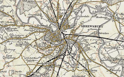 Old map of Shrewsbury in 1902