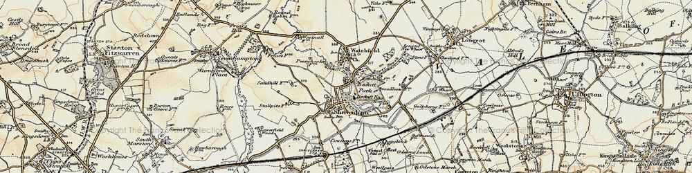Old map of Shrivenham in 1898-1899