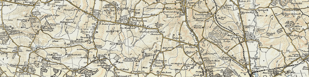 Old map of Wheating Hill in 1899-1902