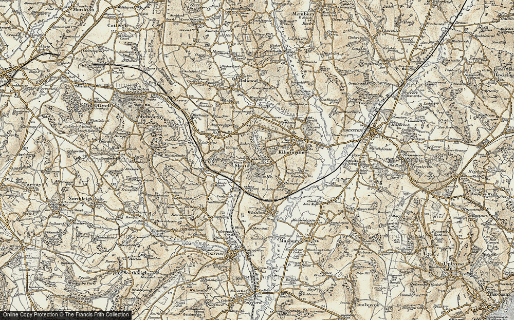 Old Map of Shute, 1898-1900 in 1898-1900