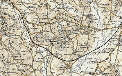 Old map of Shute in 1898-1900