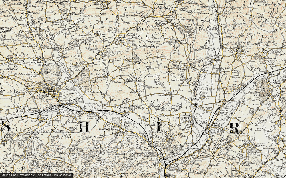 Old Map of Historic Map covering Yendacott Manor in 1899-1900