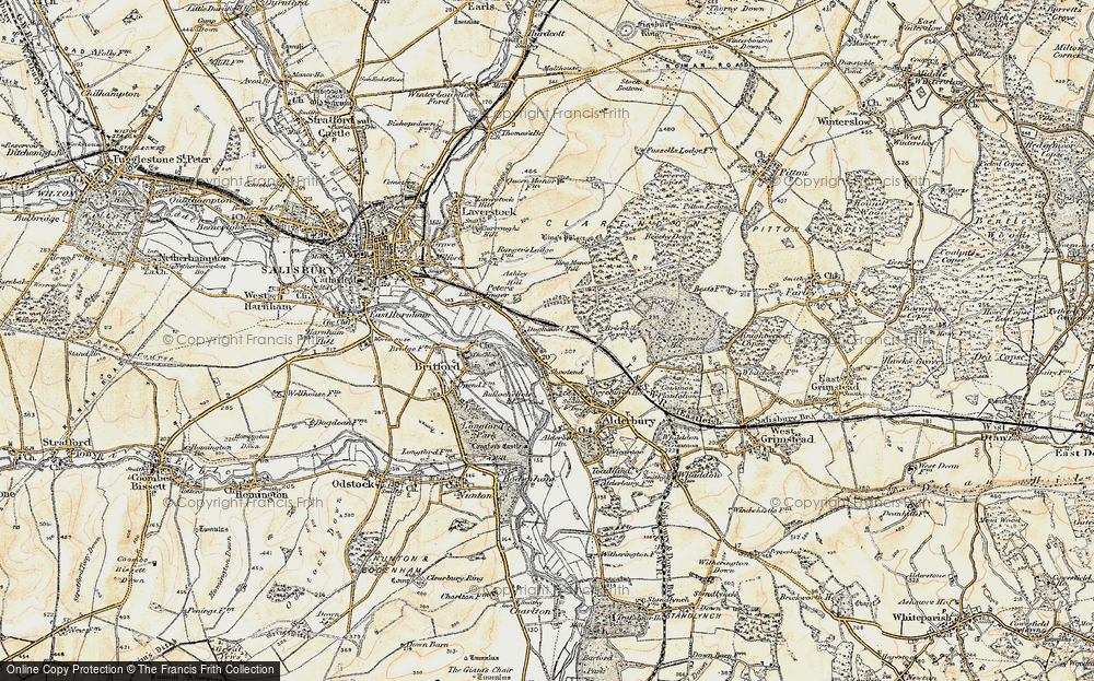 Old Map of Historic Map covering Ashley Hill in 1897-1898