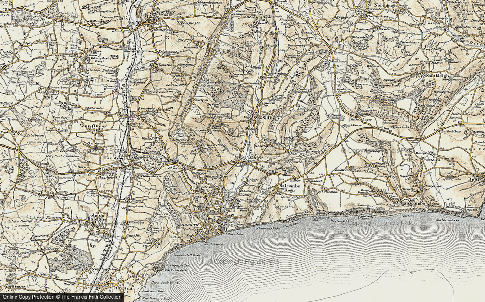Old Map of Sidford, 1899 in 1899