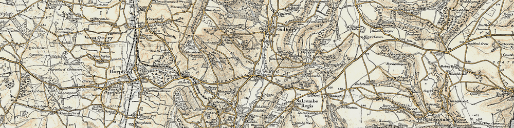 Old map of Sidford in 1899