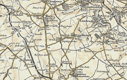 Old map of Sigingstone in 1899-1900