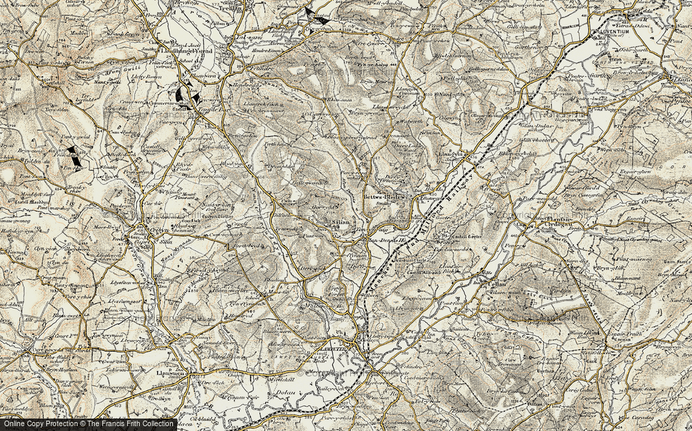 Old Map of Historic Map covering Afon Denys in 1901-1902