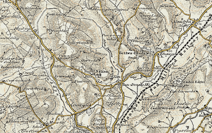 Old map of Afon Denys in 1901-1902