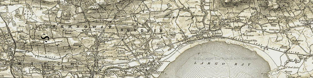 Old map of Aithernie Castle in 1903-1908
