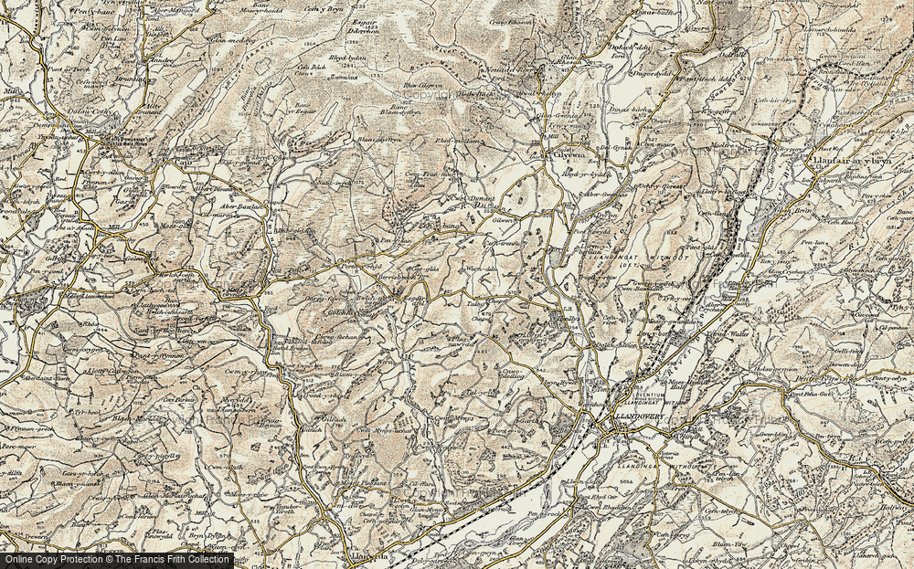 Old Map of Historic Map covering Afon Mynys in 1900-1902