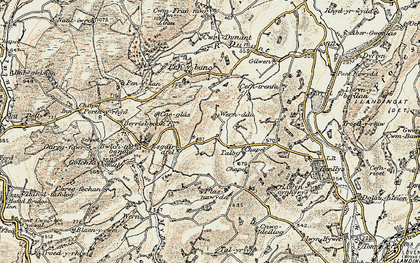 Old map of Afon Dunant in 1900-1902