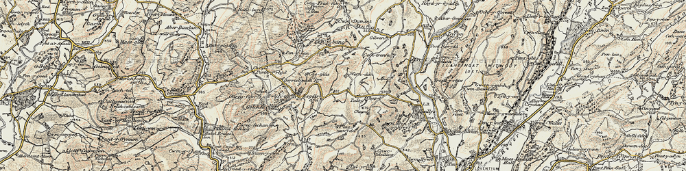 Old map of Afon Mynys in 1900-1902