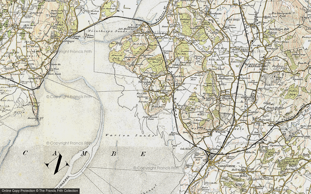 Old Map of Historic Map covering Lindeth Twr in 1903-1904