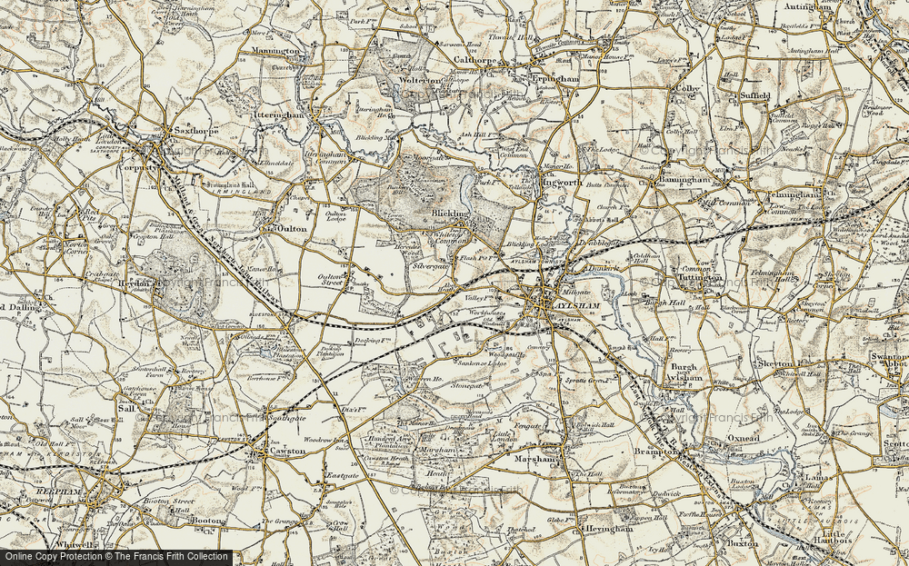 Old Map of Historic Map covering Woodgate Ho in 1901-1902