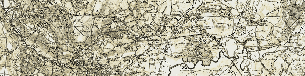 Old map of Whitelees in 1904-1905