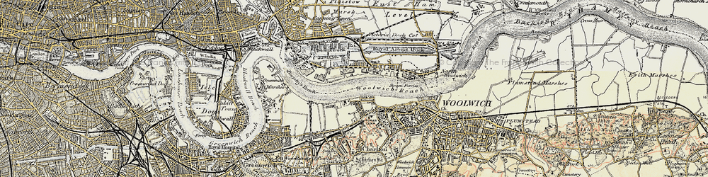 Old map of Woolwich Reach in 1897-1902