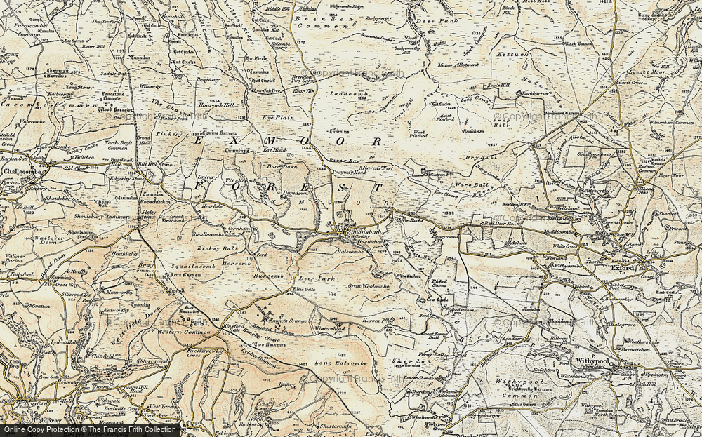 Old Map of Historic Map covering Lime Combe in 1900
