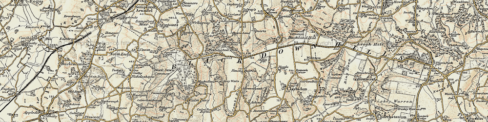 Old map of Whitehams in 1898-1900