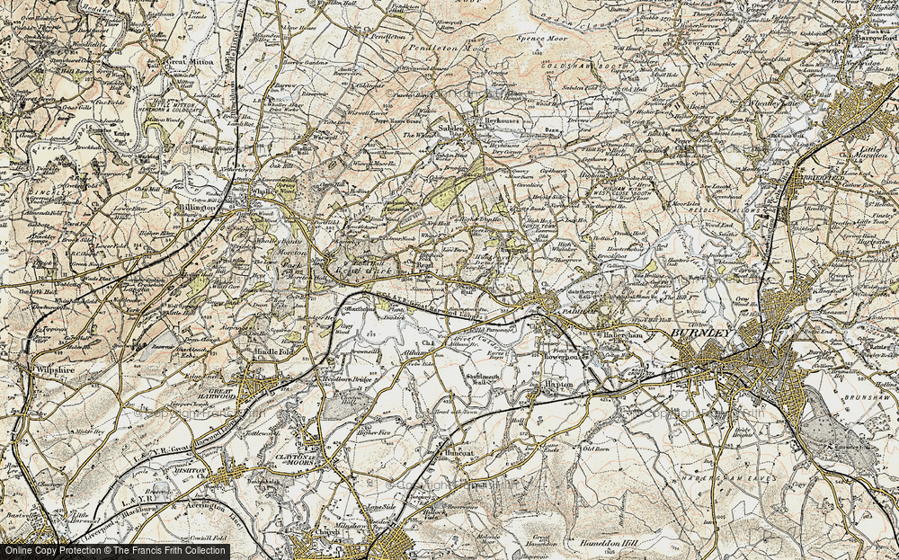 Old Map of Historic Map covering Altham Br in 1903-1904
