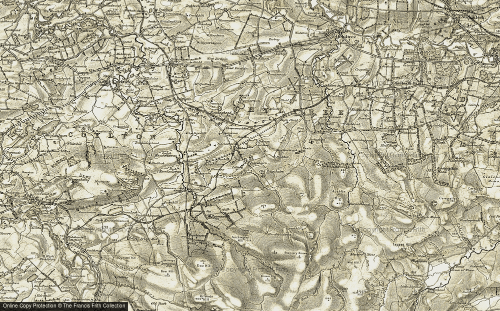 Old Map of Historic Map covering Auchlin in 1904-1906